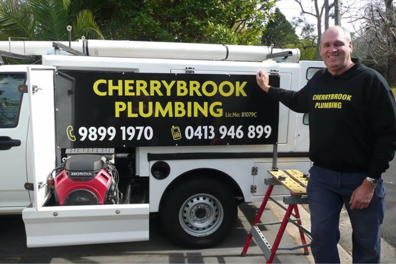 Cherrybrook Plumbing truck with built in water jet for clearing blocked drains